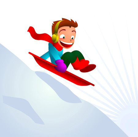 Boy sledging skiing downhill winter snow mountain in the snow. Vector illustration cartoon. Vector