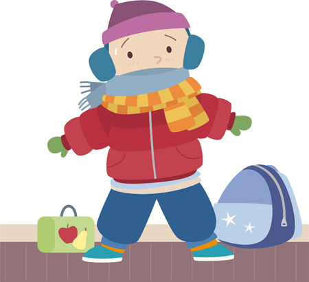 muff: Little boy sweating under his winter clothes. With Winter clothes such as wool Hat,, scarf, snow jacket and trousers, snow boots, school backpack. Vector illustration cartoon. Ready for school. Illustration