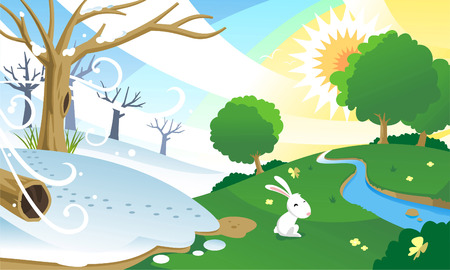 good bye: Sseason change, from winter to spring. With happy bunny in a green sunny field. Vector illustration cartoon.