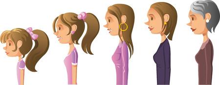 Ages of women cartoon progression Illustration