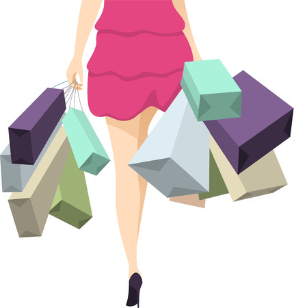 customer focus: woman walking with shopping bags vector illustration