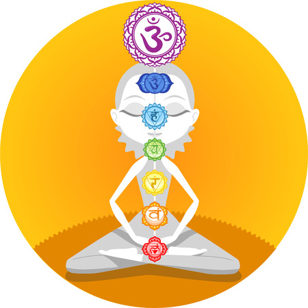 Meditation Meditating Asana Yoga Posture with Om Chakras Symbol Mandala Vector