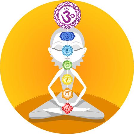 sahasrara: Meditation Meditating Asana Yoga Posture with Om Chakras Symbol Mandala