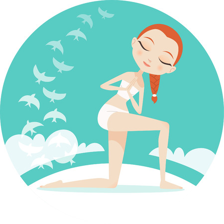 prana: Yoga Revolved Prayer Pose Illustration