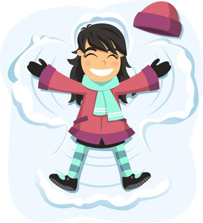 雪の日を楽しむ雪天使幸せな女の子