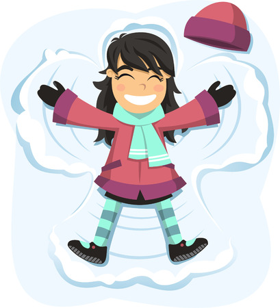 Snow angel happy girl enjoying snowy day