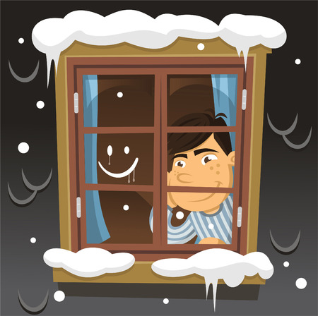 child looking up: Little boy looking out the window on a winter night cartoon illustration