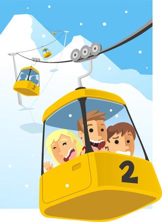 Cable car Telesferic Telecabin Gondola Cabin Ski Lift Vector Illustration. Иллюстрация