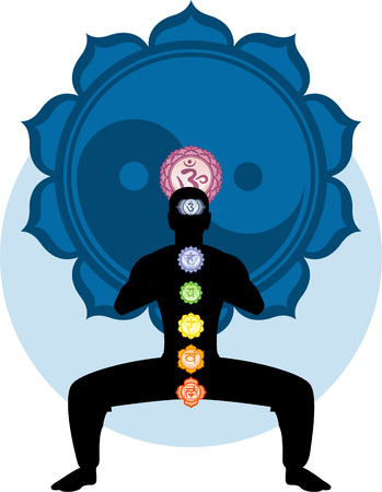 anja: Meditating Asana Chakra Harmonization with blue Ying Yang Mandala Backround vector illustration .