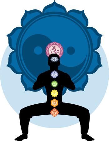 Meditating Asana Chakra Harmonization with blue Ying Yang Mandala Backround vector illustration .