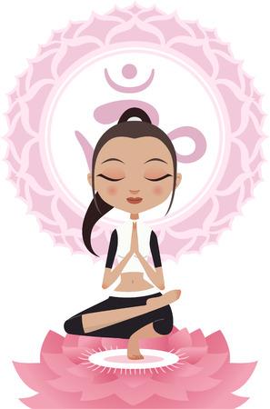 anahata: Meditare Posa del loto Asana Donna Con Om Symbol Mandala vettore.