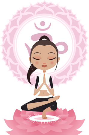 anahata: Meditating Lotus Position Asana Woman With Om Symbol Mandala Vector illustration. Illustration