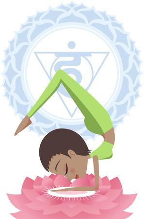 anahata: Yoga Asana Practice Meditating Posture With Om Symbol in Mandala vector illustration.