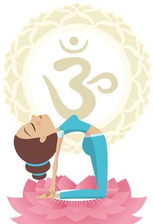 visuddha: camel pose Asana Yoga Practice Meditation on Lotus with Om Mandala Symbol vector illustration.