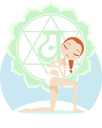 anahata: Yoga Asana Practice Posture Con Verde Mandala Backround illustrazione vettoriale.