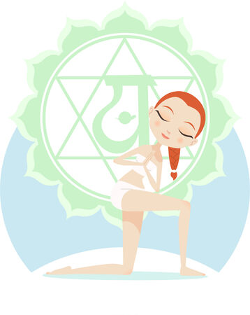 anja: Yoga Asana Practice Posture With Green Mandala Backround vector illustration.