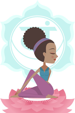 anja: Yoga Asana Posture Practice with Svadisthana Chakra Symbol Mandala Backround, vector illustration. With woman sitting on Pink Lotus.