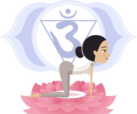 anahata: Yoga Asana Practice Posture on a Lotus Flower With Om Symbol in Mandala vector illustration.