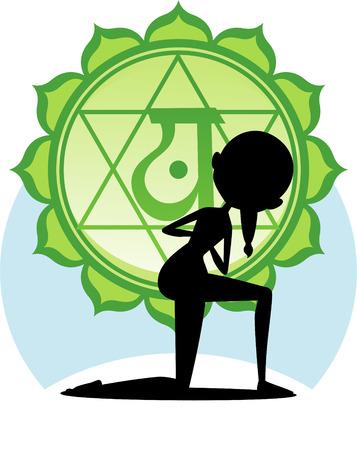 Meditating Yoga Asana on lotus with Green Chakra Mandala vector illustration. Illustration