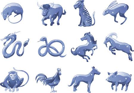 mono caricatura: Zodiaco chino símbolos estrella animales