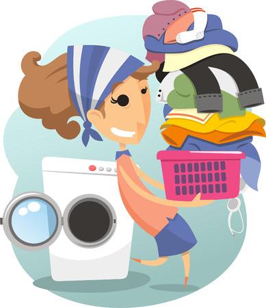 � wash: Lavander�a mujer vida dom�stica lavar la ropa lavander�a, ilustraci�n vectorial de dibujos animados.