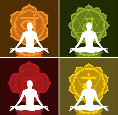 anahata: Lotus Meditare postura Posizione sulla Lotus con i chakra simbolo illustrazione vettoriale. Vettoriali