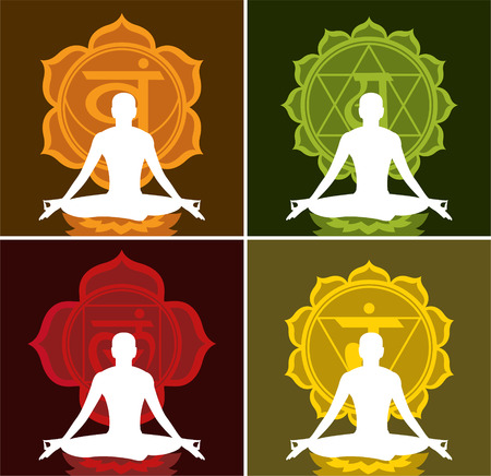 soul searching: Lotus Meditating Posture Position on Lotus with chakras Symbol vector illustration.