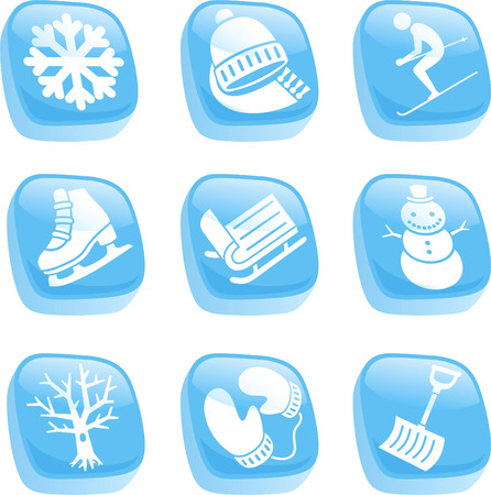 year curve: Winter ice cube icons