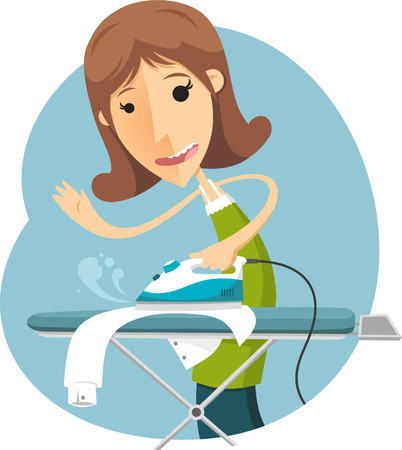 stereotypical: cartoon housewife ironing Illustration
