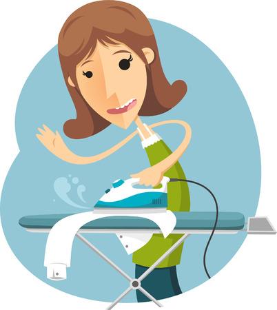 cartoon housewife ironing Illustration