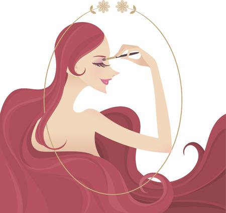 yeux maquill�: maquillage pour les yeux portrait illustration