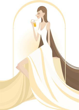 smelling: noveau design girl putting on perfume vector illustration Illustration