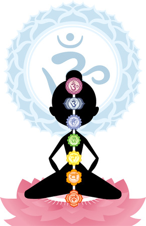 manipura: Meditation Meditating Asana Yoga Posture with Om Symbol Mandala vector illustration.