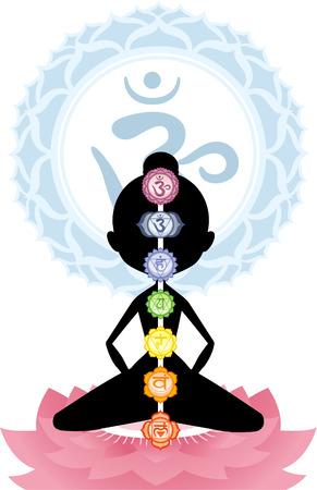 anahata: Meditazione Meditare Asana Postura Yoga con Om simbolo Mandala illustrazione vettoriale.