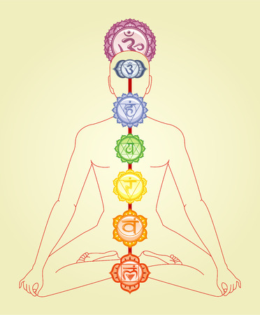 manipura: Meditation Meditating Asana Yoga Posture with Om and the seven chakras mandalas Symbol in spine order vector illustration.