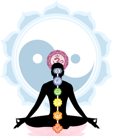 Meditation Meditating Asana Yoga Posture with Om Symbol Mandala and all seven chakras in spine order vector illustration. Stock Illustratie