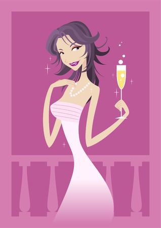 Woman in a long night dress vector cartoon illustration