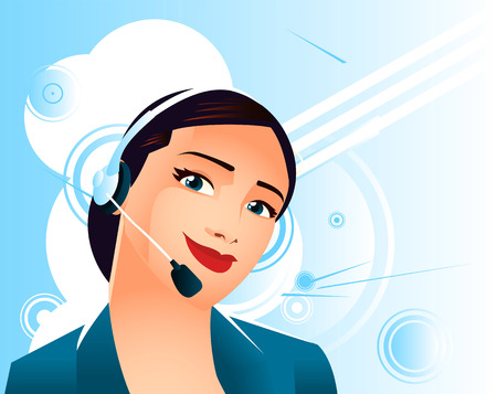 answering phone: receptionist vector cartoon illustration