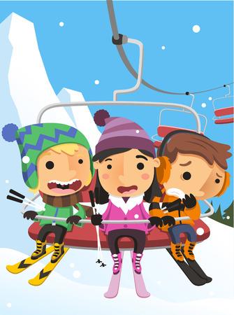 Winter Snow Kids on Ski Lift Steel Cable Cabin vector illustration cartoon.