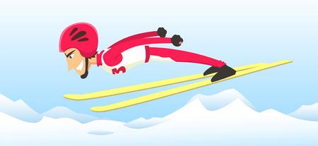 Athlete ski jumping in winter olimpic games