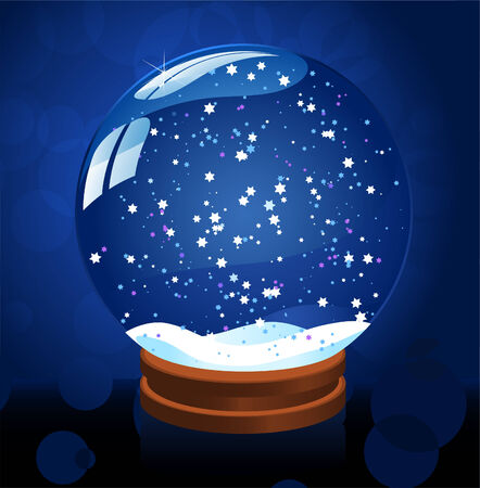 Snow globe on blue background with stars vector illustration. Vector