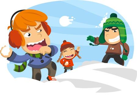 palle di neve: Tre bambini felici in una battaglia a palle di neve, nel corso di un inverno nevoso giorno di neve. Vector fumetto illustrazione. Vettoriali