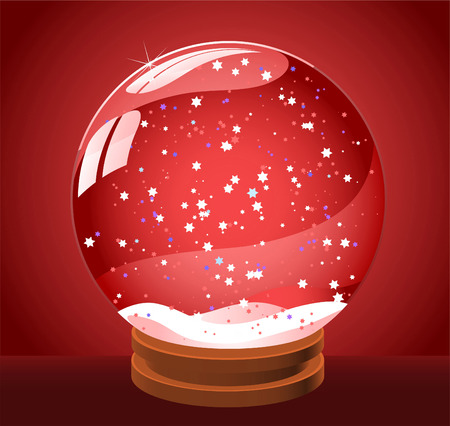 Snow globe snowball vector illustration icon, with star shape with red background.