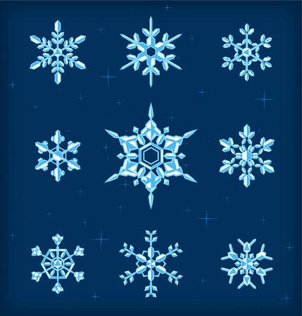 Snow flakes icon set