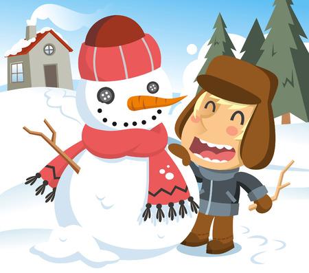 brand new: Little boy finishing his brand new snowman. Vector illustration cartoon.