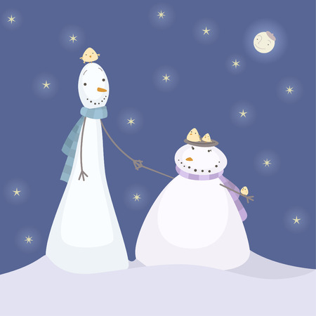 carrot nose: Christmas Snowmen holding hands at night with Monn face, with a nest of birds and a moon shining happily. Vector Iluustration cartoon.
