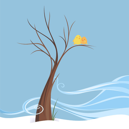 Birds in love perching in breezy winter on a tree, winter scene of a couple of birds in an isolated image. Brown tree with a little of breeze, two yellow birds laughing happily vector illustration. Иллюстрация
