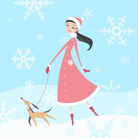 lap dog: donna di prendere il suo cane per una passeggiata in inverno con il suo cane purebreed. Vettoriali