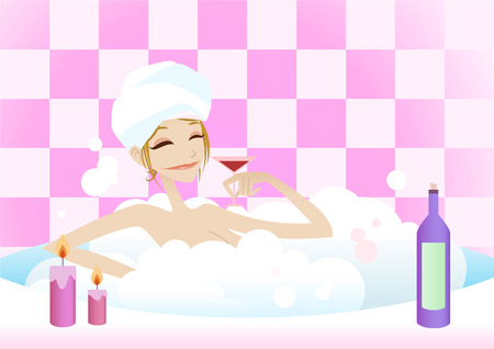hot woman: Sexy woman taking a hot bath vector cartoon illustration