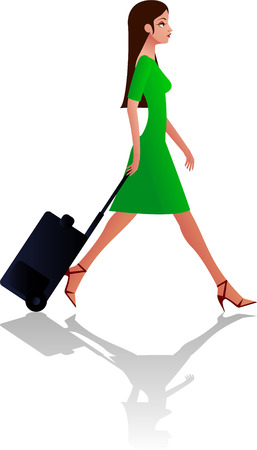 woman with travel bag vector illustration Stock Illustratie